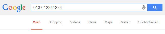 Telefonnummer suchen bei Google